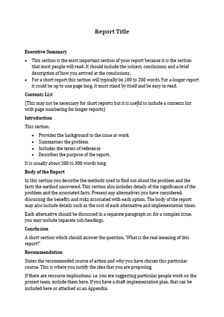 business report summary format writing